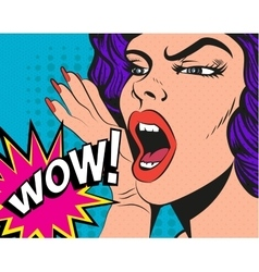 Woman with wow sign in pop vector