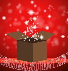 Christmas gift box with light red background vector
