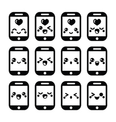 Japanese cute kawaii character - mobile or cell ph vector