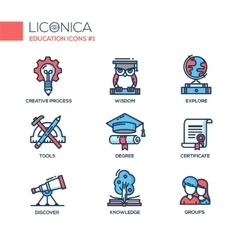 Modern school and education thin line design icons vector