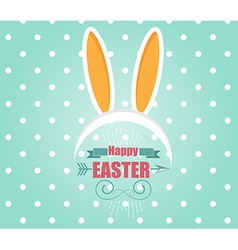 Happy easter card with easter bunny rabbit vector