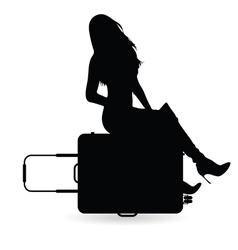 Girl with travel bag silhouette vector