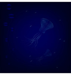 Transparent jellyfishes swim in deep underwater vector