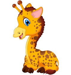 Cute baby giraffe cartoon sitting vector