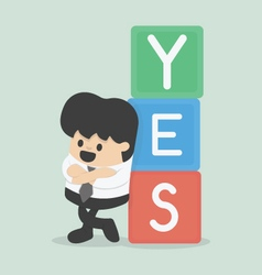 a businessman with YES vector image vector image