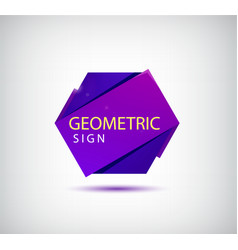 abstract 3d origami crystal logo icon vector image