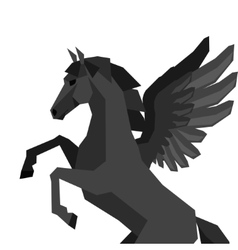 Background with horse pegasus in flat style vector image