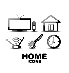 Black glossy home icons vector image vector image