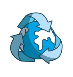 Blue earth planet inside of recycling symbol vector