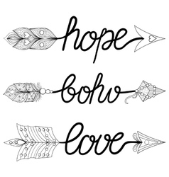 Boho love hope arrows hand drawn signs with vector