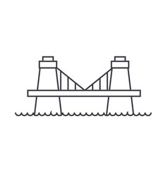 british bridge line icon sign vector image