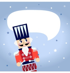 Cartoon christmas Nutcracker with blank bubble vector image