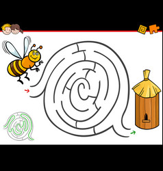 cartoon maze activity with bee and hive vector image