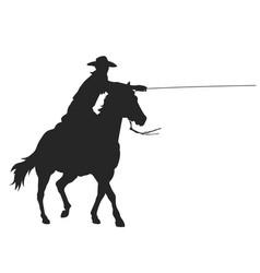 Cowboy with lasso riding a horse vector