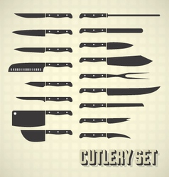 Cutlery set and kitchen knives vector