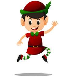 Elf in red costume vector