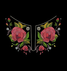 embroidery neckline design for fashion vector image vector image