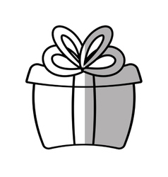 Gift box ribbon cube decorative shadow vector