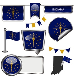 Glossy icons with indiana flag vector