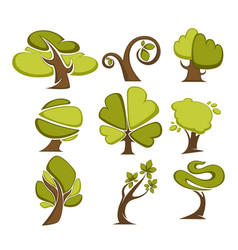Green trees and tree leaf icons or logo templates vector