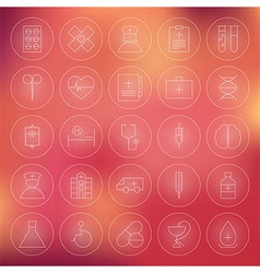 Health care circle medical line icons set vector