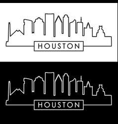 houston skyline linear style vector image vector image