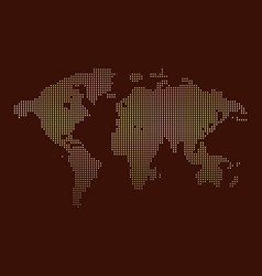 Isolated brown color worldmap of dots on white vector