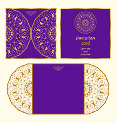 Laser cut card template vector
