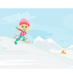 Little girl sledding - vector
