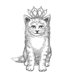 Little kitten wearing crown vector