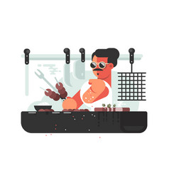 Man cooking barbecue on grill vector