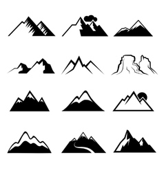 Monochrome mountain icons vector image