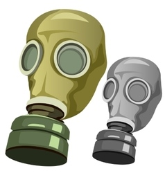 Old rubber gas mask on white background vector