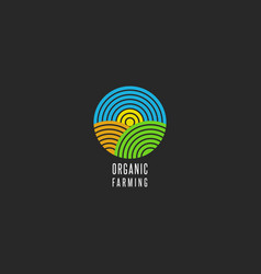 Organic farm logo round shape abstract line style vector