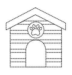 Pet house wooden with paw print vector