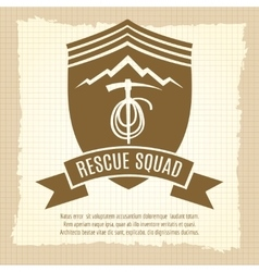 Rescue squad retro badge design vector