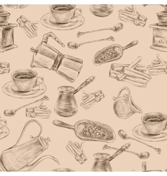 Retro coffee set seamless pattern vector