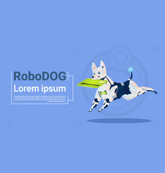 Robotic dog hold credit card mobile payment for vector