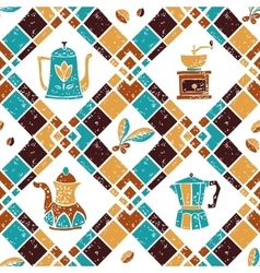 Seamless pattern Argyle and Coffeepots vector image