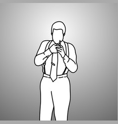 Serious businessman with suspenders or braces vector