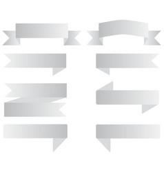 set gray ribbon banner on white background set vector image
