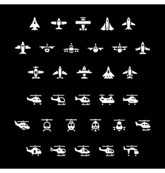 Set icons of planes and helicopters vector image vector image