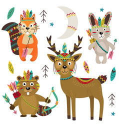 Set of isolated tribal animals part 2 vector