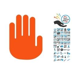 Stop Hand Icon with 2017 Year Bonus Symbols vector image vector image