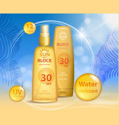 Sun protection sunscreen and sunbath cosmetic vector