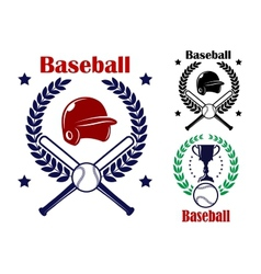 Three Baseball emblems or badges vector image