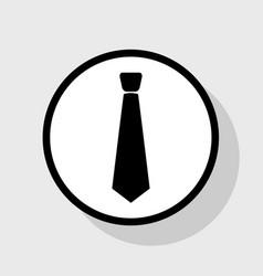 Tie sign flat black icon in vector