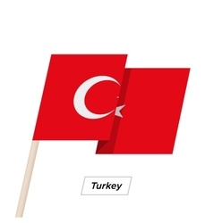 Turkey ribbon waving flag isolated on white vector