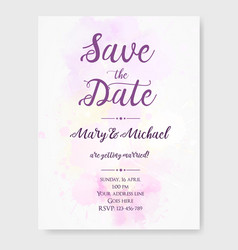 Wedding invitation template with watercolor vector