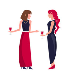 women at party with wine on vector image
